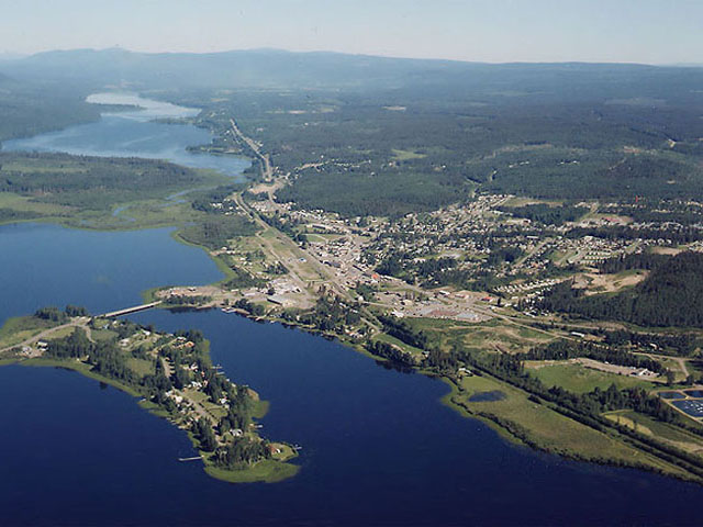 Arial view of Burns Lake BC.