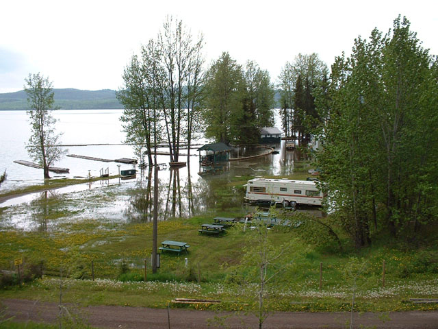 Spring flooding on Francois Lake.